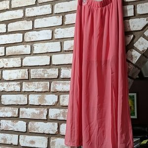 Peach long sheer elastic waist skirt size med.